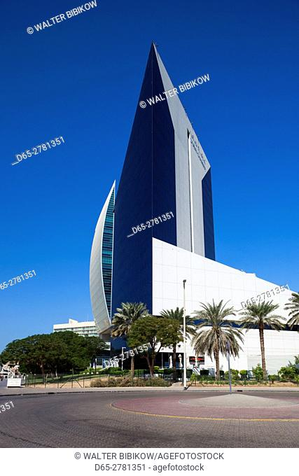UAE, Dubai, Deira, Hilton Hotel, Emirates NBD bank and Dubai Chamber of Commerce buildings