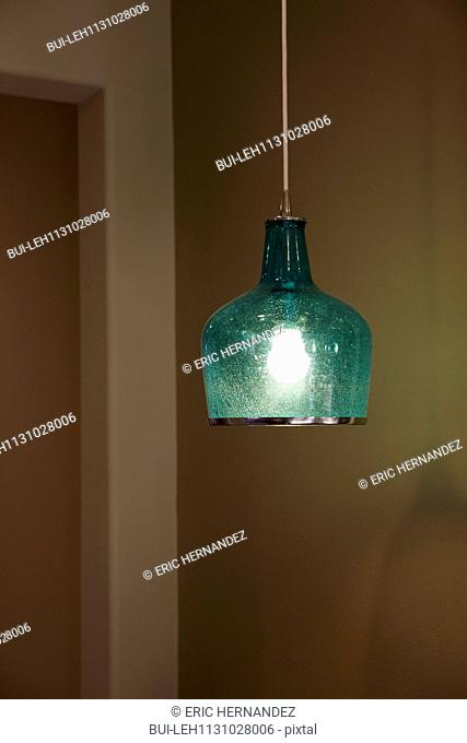Close-up of a hanging green light at home; Moreno Valley; California; USA