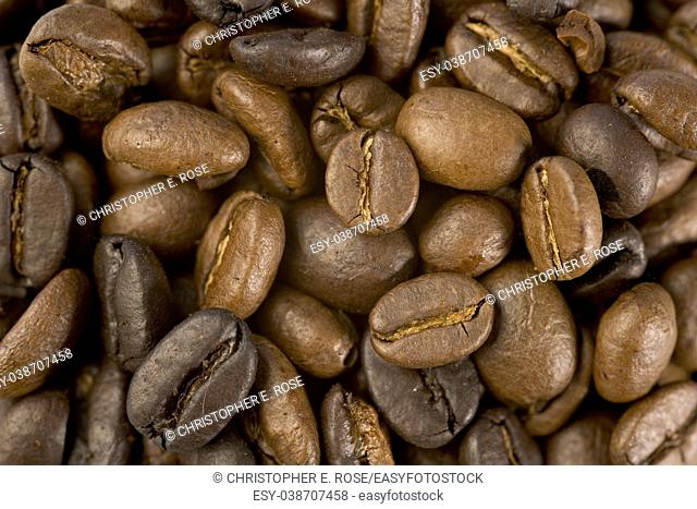 Coffee beans close up texture