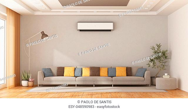 Modern living room with coloful sofa and air conditioner on wall - 3d rendering