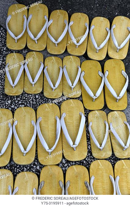 Traditional wooden sandals for the use of visitors at a Zen temple in Takayama, Japan, Asia
