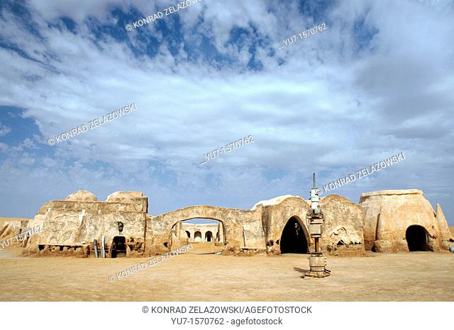 Remains of George Lucas Star Wars movie set on Sahara desert in Tunisia