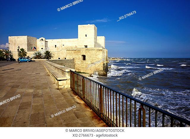 The Svevo castle in Trani. Trani is a seaport of Apulia, in southern Italy, on the Adriatic Sea, 40 kilometres (25 mi) by railway West-Northwest of Bari