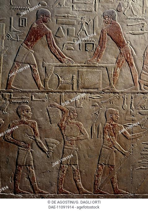 Carpentry shop, painted relief, Mastaba of Ty, Saqqara (Unesco World Heritage List, 1979). Egyptian Civilisation, Old Kingdom, Dynasty V