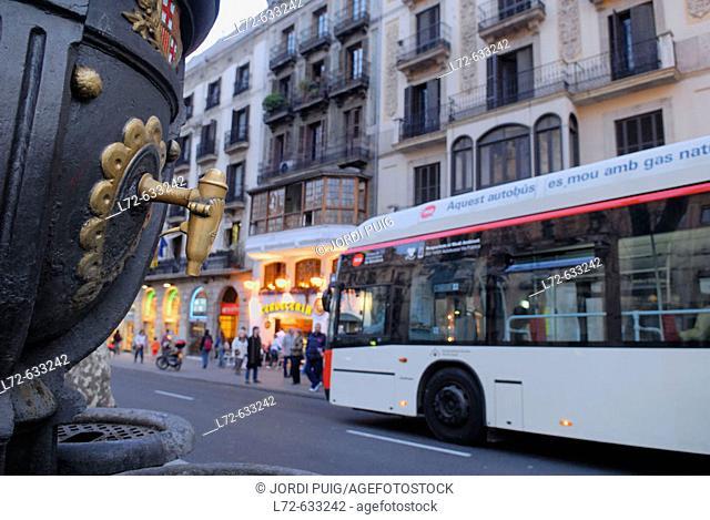 Fountain at Rambla de Canaletes. Barcelona. Spain