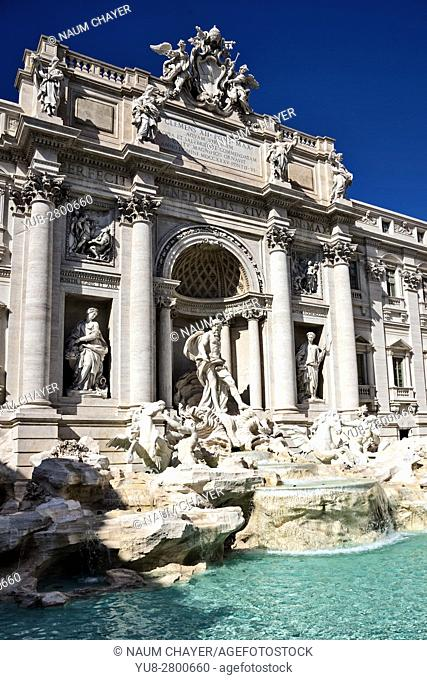 The famous Trevi Fountain, vertical view , Rome, capital of Italy and Lazio region, Europe
