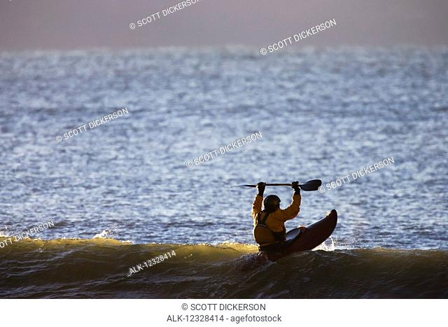 Kayaker In Kachemak Bay Near Homer, Southcentral Alaska, USA