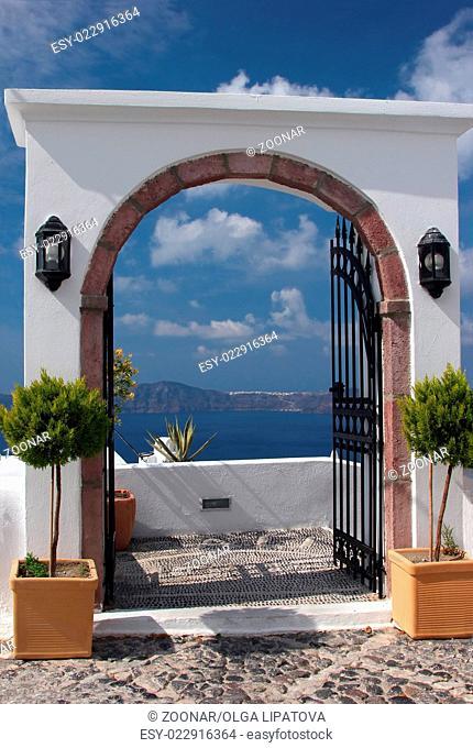 Terrace in Santorini island, Greece