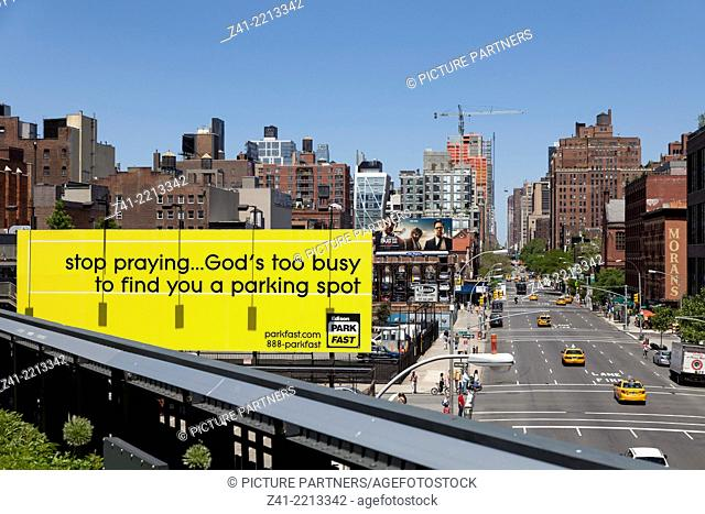 Advertisement seen from the Highline, New York City