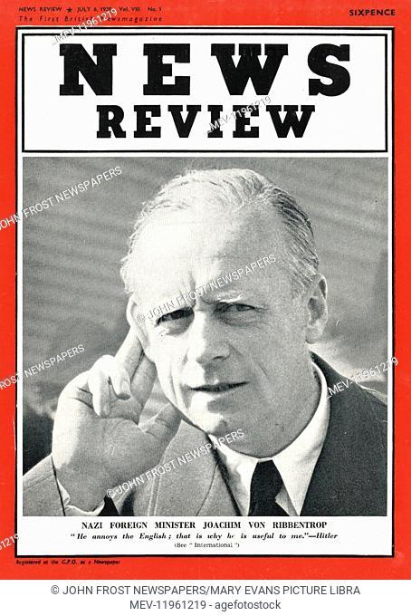 1939 News Review Magazine German Foreign Minister Joachim von Ribbentrop