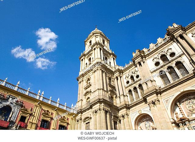 Spain, Andalusia, Malaga, Cathedral low angle view