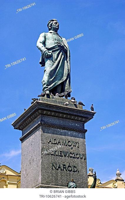 Monument of Adam Mickiewicz 1898 Main Market Square Cracow/Krakcow, Poland
