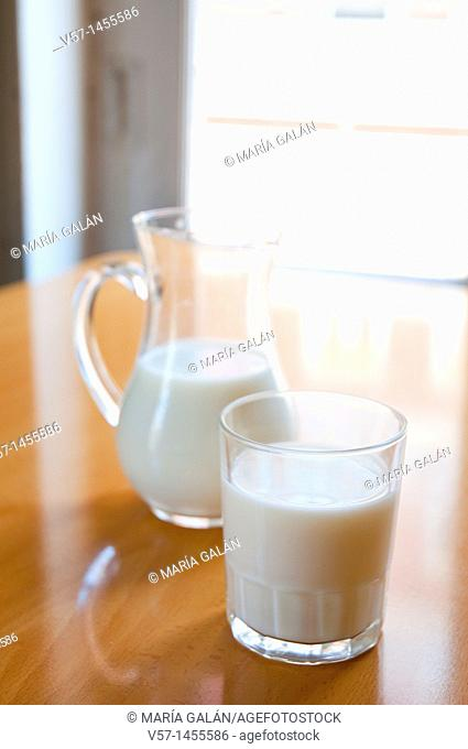 Glass and jug of milk