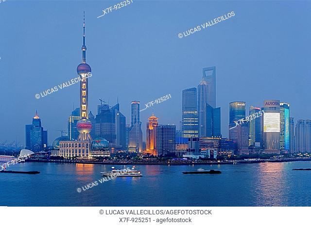 China Shanghai: Skyscrapers at Pudong  Huangpu River  At left Oriental Pearl Tower  At righ Jin Mao Building and Shanghai World Financial Center SWFC