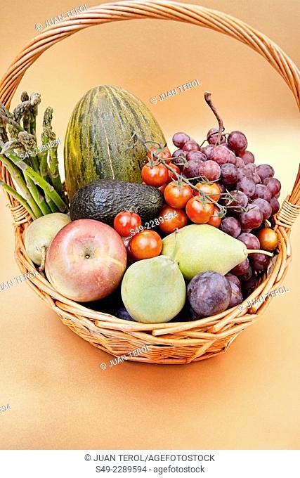 Varied fruits and vegetables in a basket