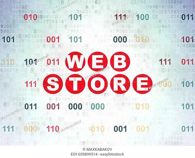 Web development concept: Web Store on Digital Data Paper background
