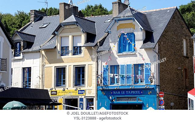 Houses on the Place du Calvaire, Port of La Houle in Cancale (Brittany, France)