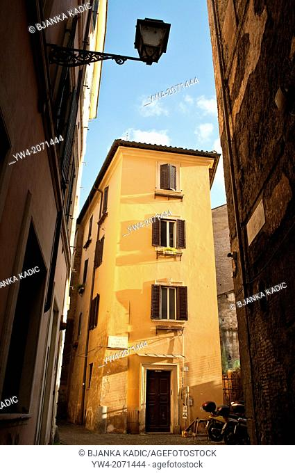 Atmospheric corner in the rione of Sant'Angelo, Rome Italy