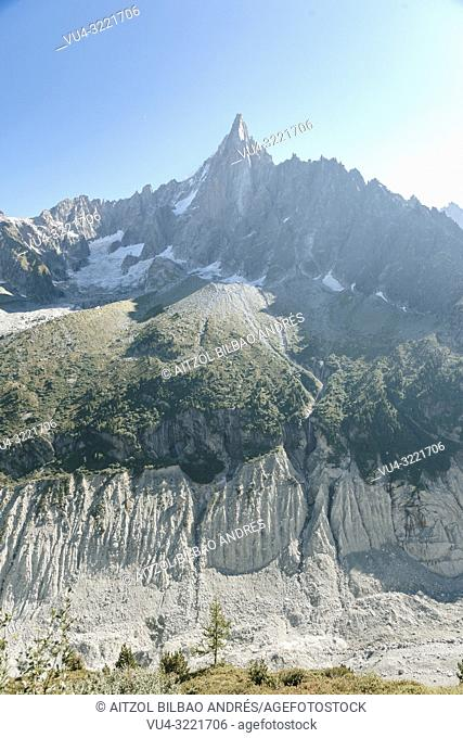 The Aiguille du Dru (also the Dru or the Drus; French, Les Drus) is a mountain in the Mont Blanc massif in the French Alps