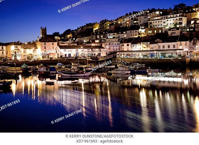 England Devon Brixham Marina at night