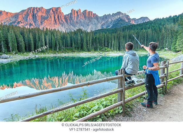 Carezza lake at sunset, Trentino Alto Adige Region, Italy, Europe