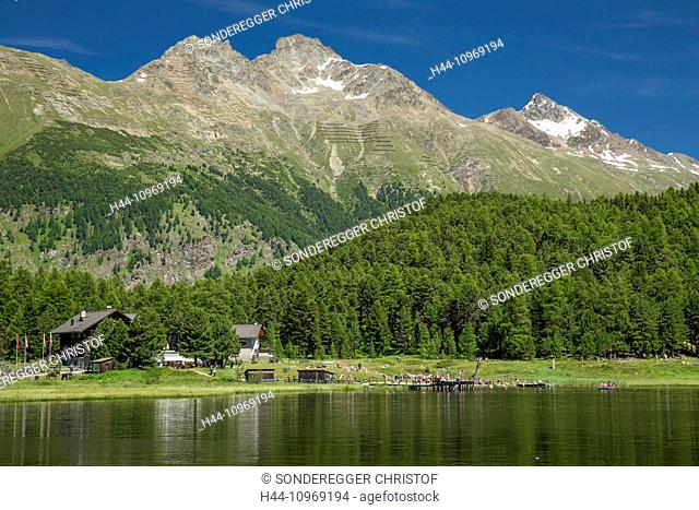 Engadin, Engadine, Statzersee, lake, Saint Moritz, St. Moritz, mountain lake, canton, GR, Graubünden, Grisons, Upper Engadine, Switzerland, Europe