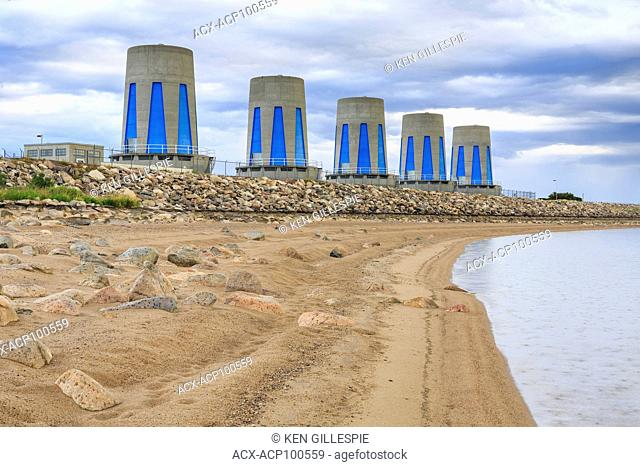 Hydroelectric power turbines at Gardiner Dam on Lake Diefenbaker, Saskatchewan, Canada