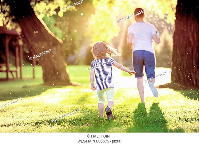 Back view of father and his little daughter running on a meadow in the park