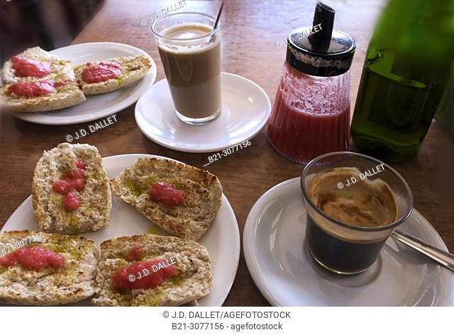 Spain. Food. Spanish breakfast, coffee with bread, olive oil and tomatoes