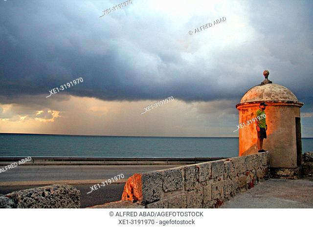 minaret of the defense wall at dusk, Cartagena de Indias, Colombia