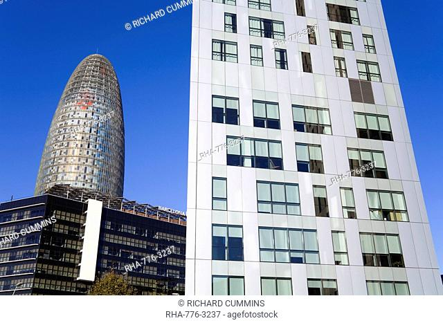 Torre Agbar skyscraper and Novotel Hotel on Avenue Diagonal, Barcelona, Catalonia, Spain, Europe