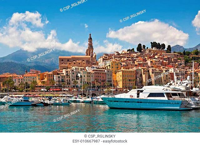 View of marina and old part of Menton, France