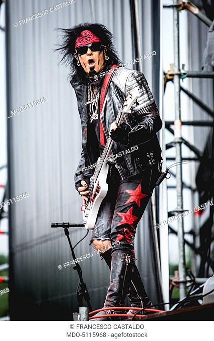 The bass player Nikki Sixx (Franklin Carlton Serafino Feranna Jr.) in concert with the Sixx:A.M. at the heavy metal music festival Gods Of Metal staged at the...