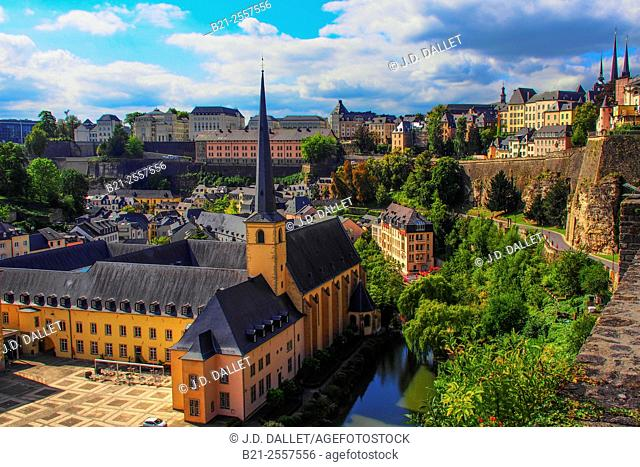 Luxembourg- over the Grnd area and Saint Jean church, XVIIc., the old part of the city in the defense walls