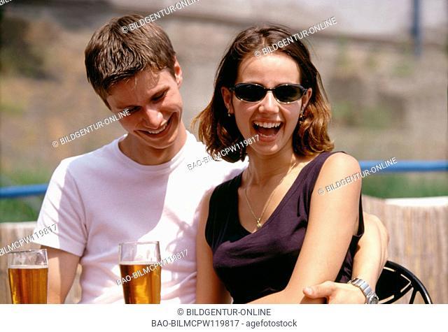 Teenager in love pair flirts