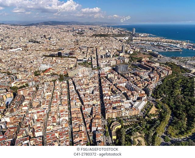 Quarter of El Poble Sec and coast line in Barcelona