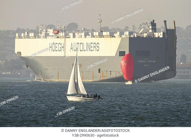 The Norwegian automobile carrier ship Triton leaving San Diego, California