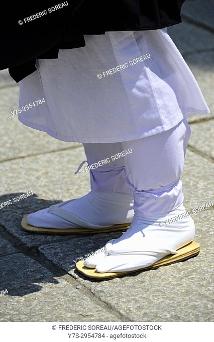 flip-flop on the foot of japanese monk, Japan, Asia