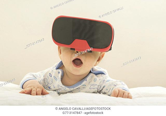 4 months old baby wearing googles