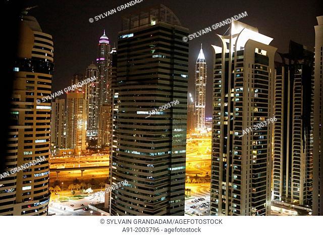 United Arab Emirates (UAE), Dubai, apartments towers at night