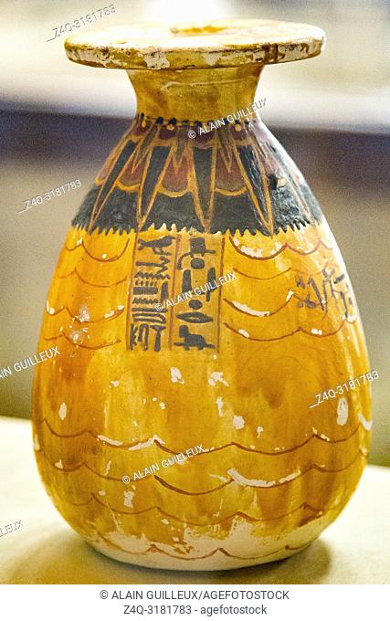 Egypt, Cairo, Egyptian Museum, from the tomb of Yuya and Thuya in Luxor : Vase , painted to imitate salabaster, with nice decorations around the neck and on the...