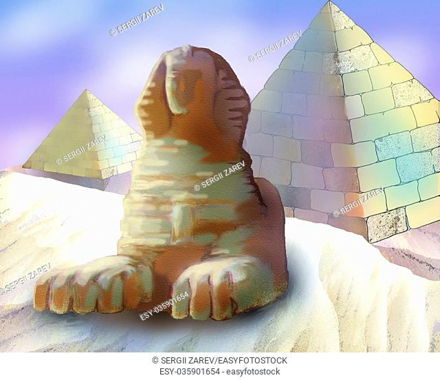 Digital Painting, Illustration of a Pyramids And Sphinx in Realistic Cartoon Style