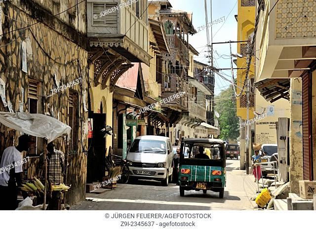 Old town of Mombasa with wooden carved balconies, Mombasa, Kenya