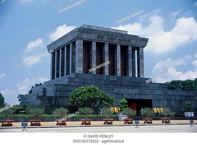 Vietnam, Hanoi, Ba Dinh Square, Ho Chi Minh Mausoleum, exterior of monumental building on dais