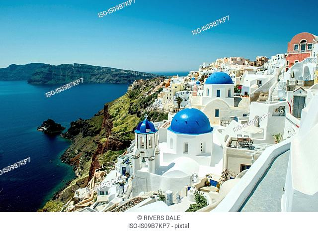 View of rooftops and sea, Oía, Santorini, Kikladhes, Greece