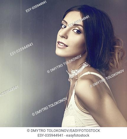 Beauty. Grungy female portrait with copy space for your design