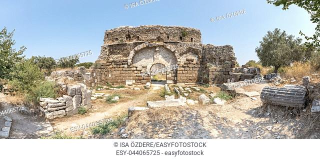 Exterior high resolution panoramic view of Faustina Baths Ruins at Miletus Ancient Greek City in Didim,Aydin,Turkey