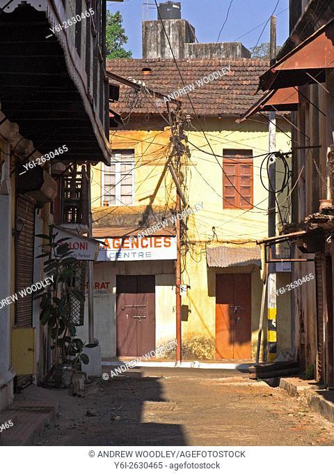 Pastel coloured colonial buildings line narrow streets Fontainhas Panjim Goa India