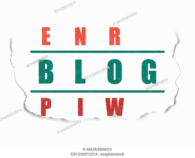 Web development concept: Painted green word Blog in solving Crossword Puzzle on Torn Paper background, 3d render