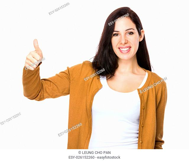 Young woman with thumb up gesture